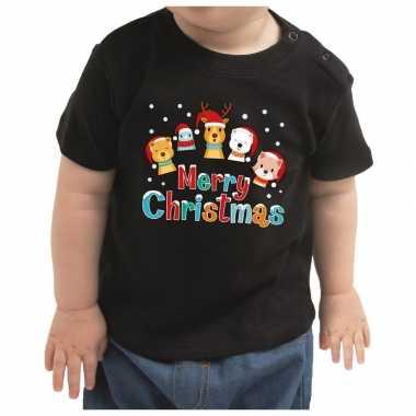 Baby kerstrui dierenvriendjes merry christmas meisje / jongen zwart