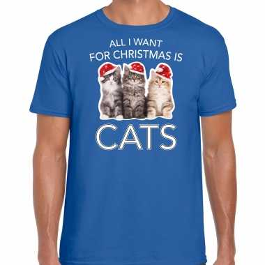 Blauw kerstrui/ kerstkleding all i want for christmas is cats heren