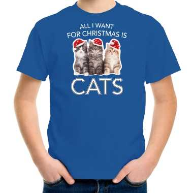 Blauw kerstrui/ kerstkleding all i want for christmas is cats kinderen