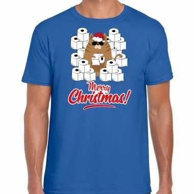 Blauw kerstrui/ kerstkleding hamsterende kat merry christmas heren