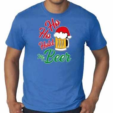 Blauw kerstrui / kerstkleding ho ho hold my beer heren grote maten