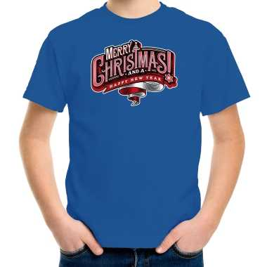 Blauw kerstrui / kerstkleding merry christmas kinderen