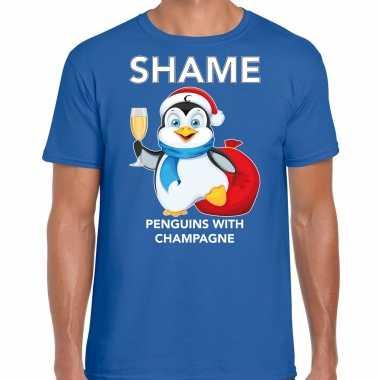 Blauw kerstrui/ kerstkleding pinguin shame penguins with champagne heren
