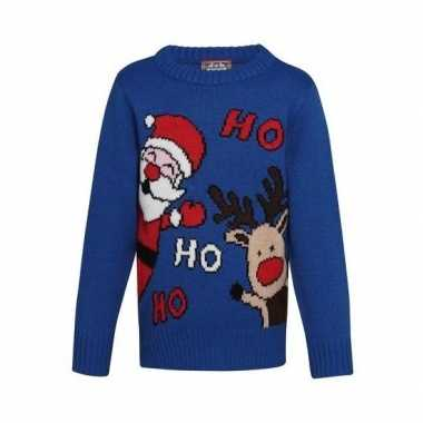 Blauwe kerst sweater ho ho ho kinderen