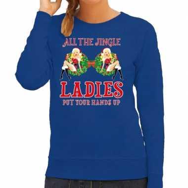 Blauwe kersttrui / kerstkleding all the single ladies / jingle ladies dames