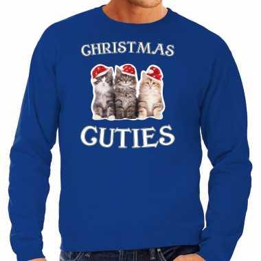 Blauwe kersttrui / kerstkleding christmas cuties heren