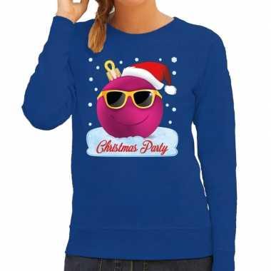 Blauwe kersttrui / kerstkleding christmas party roze coole kerstbal dames