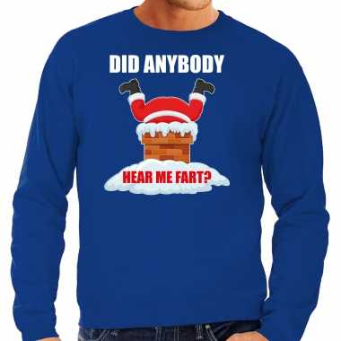 Blauwe kersttrui / kerstkleding did anybody hear my fart heren