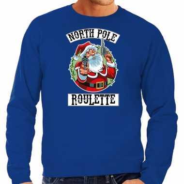 Blauwe kersttrui / kerstkleding northpole roulette heren grote maten