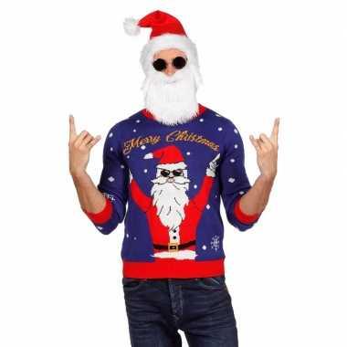 Blauwe lelijke kersttrui rockende kerstman