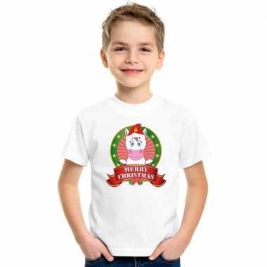 Eenhoorn kerstmis trui wit kinderen