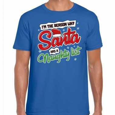 Fout kerstborrel trui / fout kerst t trui why santa has a naughty list blauw heren