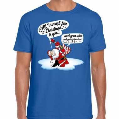 Fout kerstborrel trui / fout kerst t trui zingende kerstman gitaar blauw heren