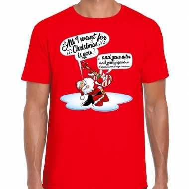 Fout kerstborrel trui / fout kerst t trui zingende kerstman gitaar rood heren