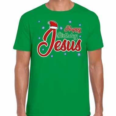 Fout kerstborrel trui / kersttrui happy birthday jesus groen heren