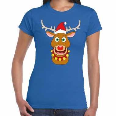 Fout kerstmis trui blauw kerstman rudolf dames