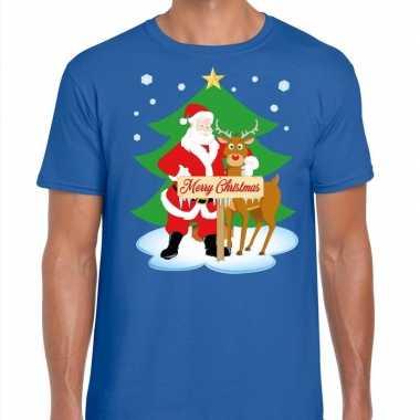 Fout kerstmis trui blauw kerstman rudolf heren