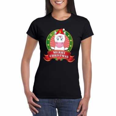 Fout kerstmis trui zwart eenhoorn dames