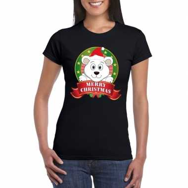 Fout kerstmis trui zwart ijsbeer dames