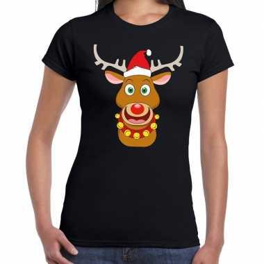 Fout kerstmis trui zwart kerstman rudolf dames