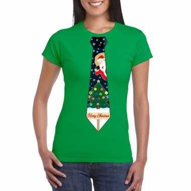 Fout kerstrui groen kerstboom stropdas dames