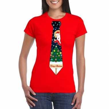 Fout kerstrui rood kerstboom stropdas dames