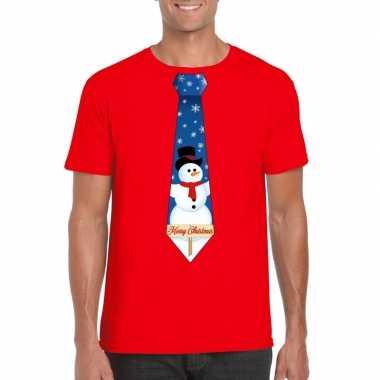 Fout kerstrui rood sneeuwman stropdas heren