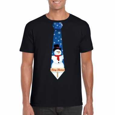Fout kerstrui zwart sneeuwman stropdas heren