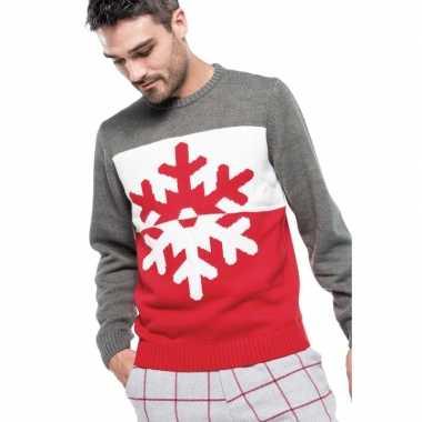 Grijs/rode lelijke/lelijke gebreide kersttrui sneeuwvlok print heren/
