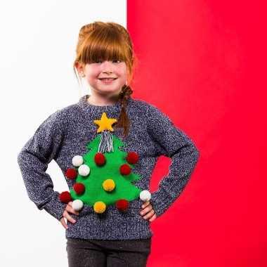 Grijze kerst sweater kerstboom kinderen