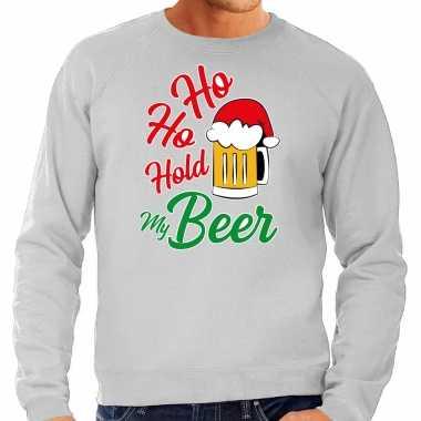 Grijze kersttrui / kerstkleding ho ho hold my beer heren grote maten