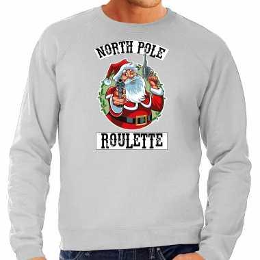 Grijze kersttrui / kerstkleding northpole roulette heren grote maten