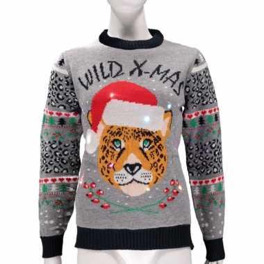 Grijze lelijke kersttrui wild x mas verlichting