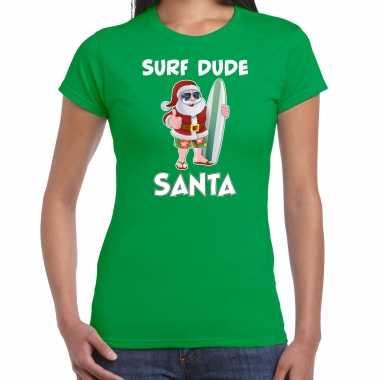 Groen kersttrui / kerstkleding surf dude santa dames