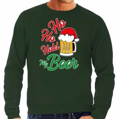 Groene kersttrui / kerstkleding ho ho hold my beer heren grote maten