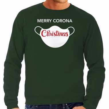 Groene kersttrui / kerstkleding merry corona christmas heren grote maten