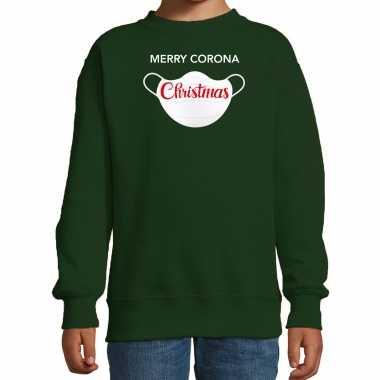 Groene kersttrui / kerstkleding merry corona christmas kinderen