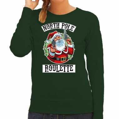 Groene kersttrui / kerstkleding northpole roulette dames