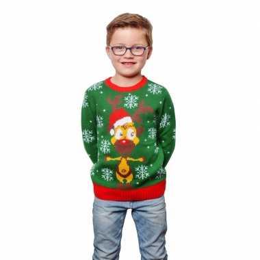 Groene lelijke kersttrui rendier kids