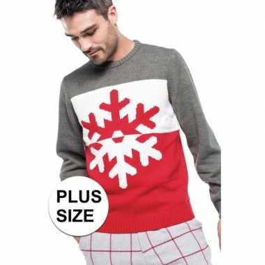 Grote maat grijs/rode lelijke/lelijke gebreide kersttrui sneeuwvlok p