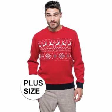 Grote maat rood/witte lelijke/lelijke gebreide kersttrui noorse print