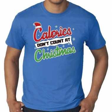 Grote maten kerstborrel trui / fout kerst t trui calories dont count at christmas blauw heren