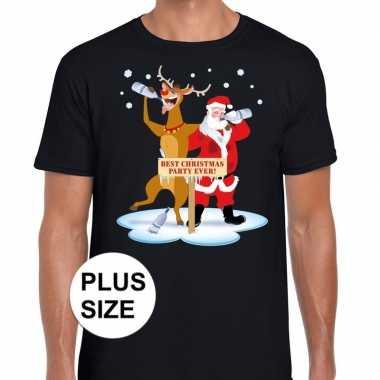 Grote maten lelijke kerstmis trui zwart een dronken kerstman rudolf h