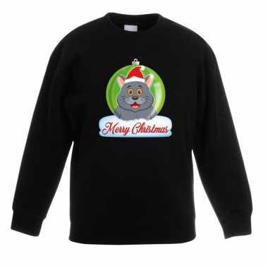 Kersttrui grijze kat / poes kerstbal zwart jongens meisjes