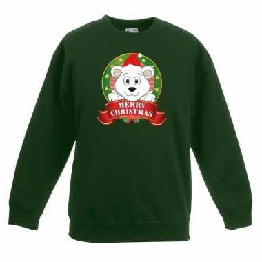 Kersttrui ijsbeer groen jongens meisjes
