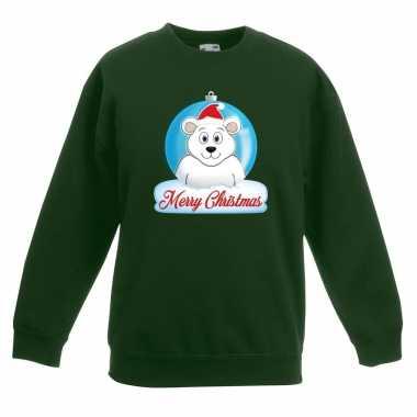 Kersttrui ijsbeer kerstbal groen jongens meisjes