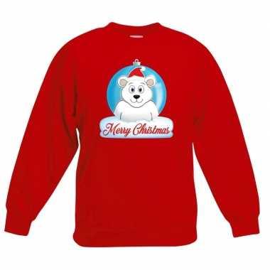 Kersttrui ijsbeer kerstbal rood jongens meisjes