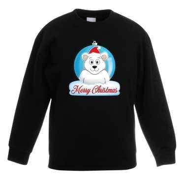 Kersttrui ijsbeer kerstbal zwart jongens meisjes