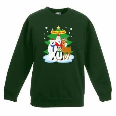Kersttrui kerstman vrienden kerstboom groen jongens meisjes