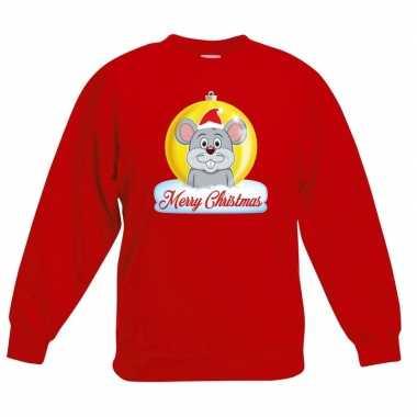 Kersttrui muis kerstbal rood jongens meisjes
